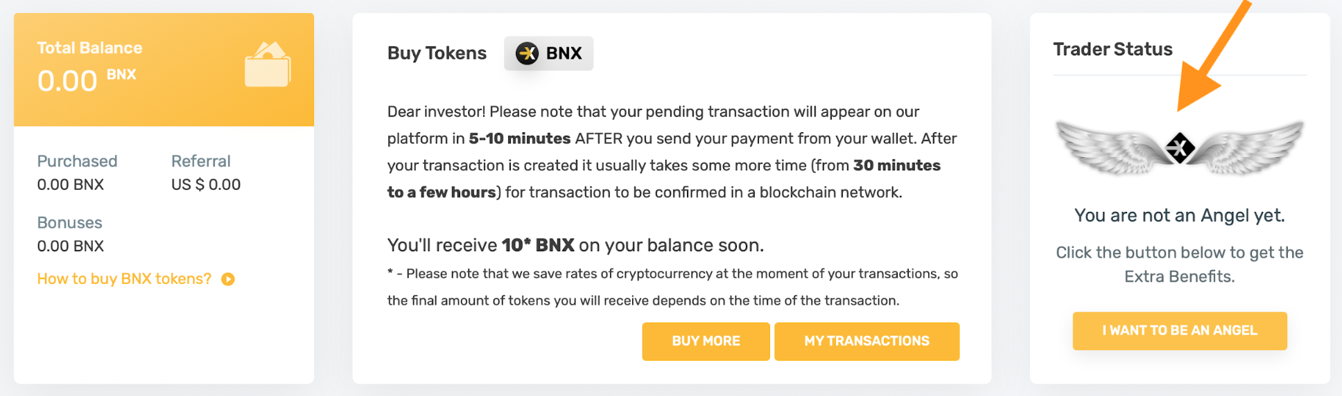 transfer BNX to the OTC platform
